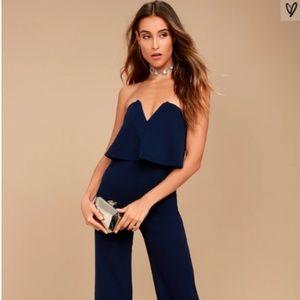 Lulus Power of Love Navy Blue Strapless Jumpsuit